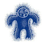 Character monster vector flat illustration, cute blue mutant. Dr Royalty Free Stock Photo