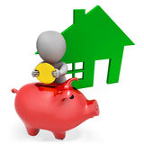 Character Mortgage Shows Piggy Bank And Apartment 3d Rendering Stock Photos