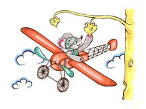 Character mouse pilot flying on airplane Royalty Free Stock Image