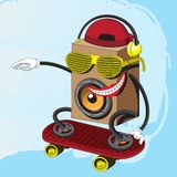 Character music speaker rides a skateboard in glasses with a smile. Vector graphics royalty free illustration