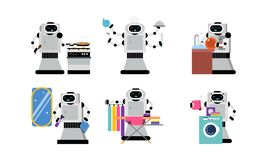 Free Character Of Robot Helper In Daily Housework Vector Illustration Set Isolated On White Background Stock Photography - 161056352