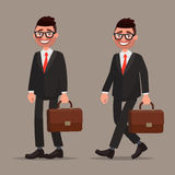Character office worker or a businessman. A man in a business su. It stands and goes. Vector illustration Stock Photo