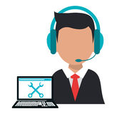 Character operator call center computer support Royalty Free Stock Image