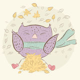 Character owl, autumn. baby illustration shirt design Stock Photography