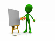 Character painting. 3d illustration of a cartoon character with a blank canvas Stock Photo