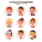 Character People Avatar Set Vector. Face. Default Avatar Placeholder. Cartoon, Comic Art Flat Isolated Illustration Stock Image