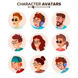 Character People Avatar Set Vector. Face. Default Avatar Placeholder. Cartoon, Comic Art Flat Isolated Illustration Stock Images