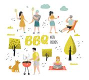 Character People on BBQ Party. Friends on Summer Barbeque and Grill. Outdoor Cooking Meat. Family Picnic. Vector illustration vector illustration
