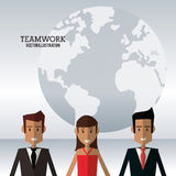 Character people teamwork globe work Royalty Free Stock Photos