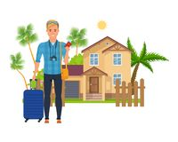 Character person tourist man, rest, tourism in tropics, vacation, trip. royalty free illustration