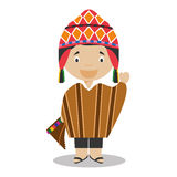 Character from Peru dressed in the traditional way. Vector Illustration. Kids of the World Collection Stock Photography