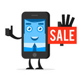 Character phone advertises sale Stock Photo