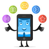 Character phone juggles with media icons Stock Images