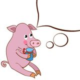 A character pig with a white cloud design element Stock Photo