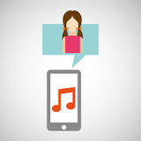 Character pink dress smartphone music application Stock Photo
