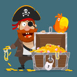 Character pirate chest of gold and parrot Royalty Free Stock Photos