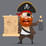 Character pirate holds card and bottle Stock Photos