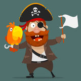 Character pirate with parrot holds white flag Stock Image