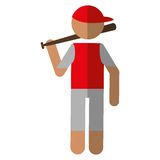 Character player baseball with bat red cap Stock Images
