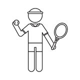 character player tennis and ball racket outline Royalty Free Stock Images