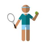 character player tennis and ball racket Stock Image