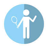 character player tennis and racket shadow Stock Photography