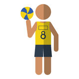 Character player volleyball yellow tshirt Stock Images