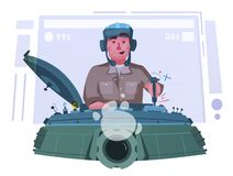 Character playing game on a panzer desk. Cartoon vector illustration stock images
