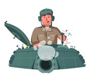 Character playing game on a panzer desk. Cartoon vector illustration royalty free stock images