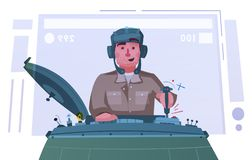 Character playing game on a panzer desk. Cartoon vector illustration. Gamer controls. Gaming concept vector illustration