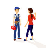 Character Plumber and Housewives vector illustration