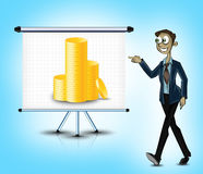Character pointing towards moeny banner Royalty Free Stock Photos