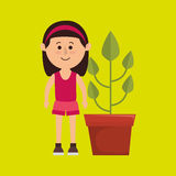 character pot plant Royalty Free Stock Image