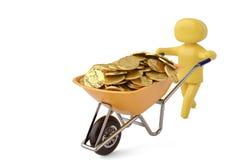 A character pushing wheelbarrow full of gold coins 3D illustrati. On stock illustration