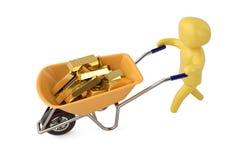A character pushing wheelbarrow full of gold ingots 3D illustrat. Ion stock illustration