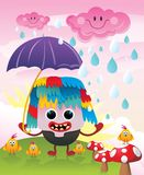 Character in the rain vector Stock Image