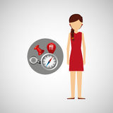 Character red dress navigation elements concept Stock Image