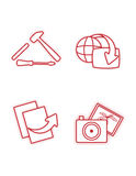 Character red icons. That represent workshop, presentations, retreats and webcast Stock Photos