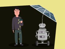 The character of a robot with artificial intelligence charges the solar panels, blocking the sun from a person. royalty free illustration