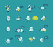 Character robot set Different situations. 404 error page not found funny repairs. Vector Icons. Stock Images