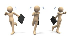 Character running while care about watch. 3D illustration Royalty Free Stock Photo