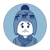 Character sad boy in winter hat and scarf Royalty Free Stock Photo
