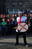 The character saint george in the traditional good friday pace egg play in heptonstall west yorkshire. Heptonstall, UK - March 20 2018: The character saint Royalty Free Stock Photography