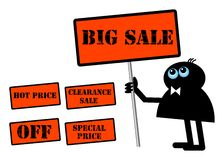 Character with sale panels Stock Photo