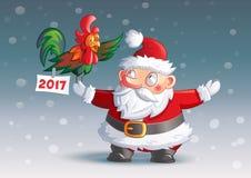 Character Santa Claus 2017. Funny character Santa Claus and cock 2017 Royalty Free Stock Image
