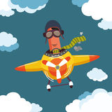 Character sausage on a plane Royalty Free Stock Photos