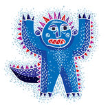 Character scared monster vector flat illustration, cute blue mut Stock Images