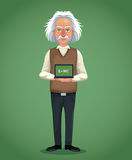 Character scientist physical board with formula green background Stock Photography