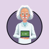 Character scientist physical board with formula purple icon Royalty Free Stock Photos