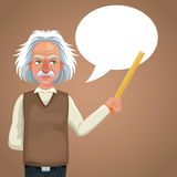 Character scientist physical holding ruler bubble speech Stock Image